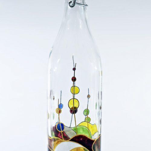 Botella agua vidrio decorado