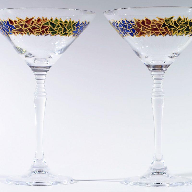 Copa martini vidrio decorado