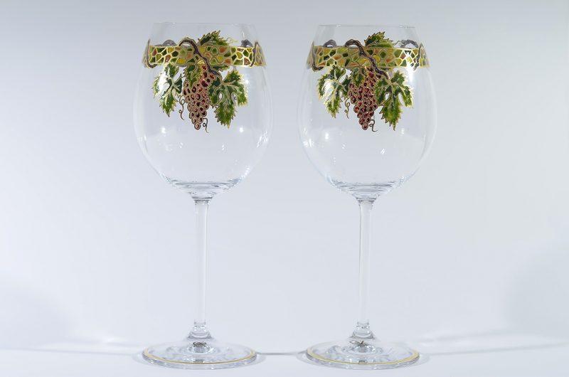 Copa vino vidrio decorado