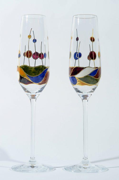 Copa cava vidrio decorado