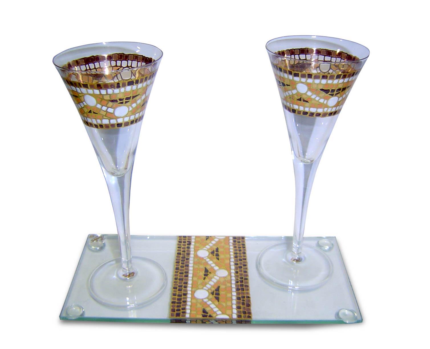 Copas de cava gaud con la bandeja decoradas a mano for Copas decoradas a mano
