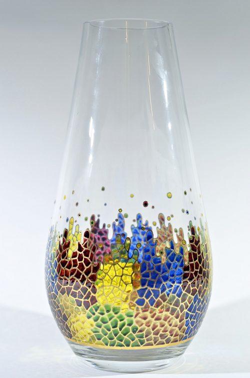 Jarrón abombado vidrio decorado