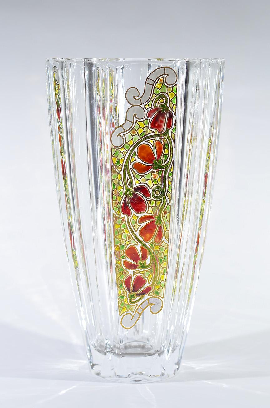 Jarrón rebordes vidrio decorado