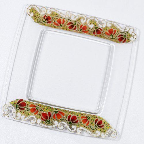 Centro de mesa cuadrado vidrio decorado