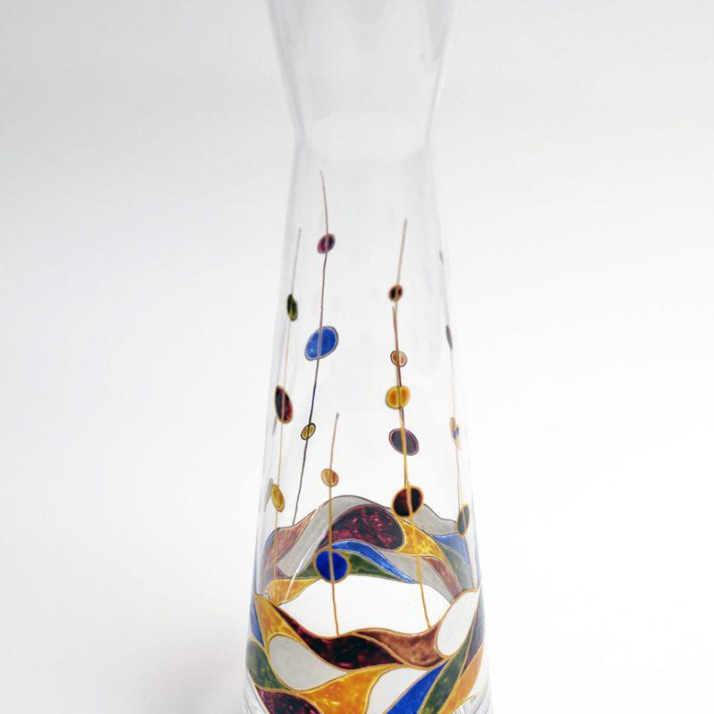 Jarrón boca abierta vidrio decorado