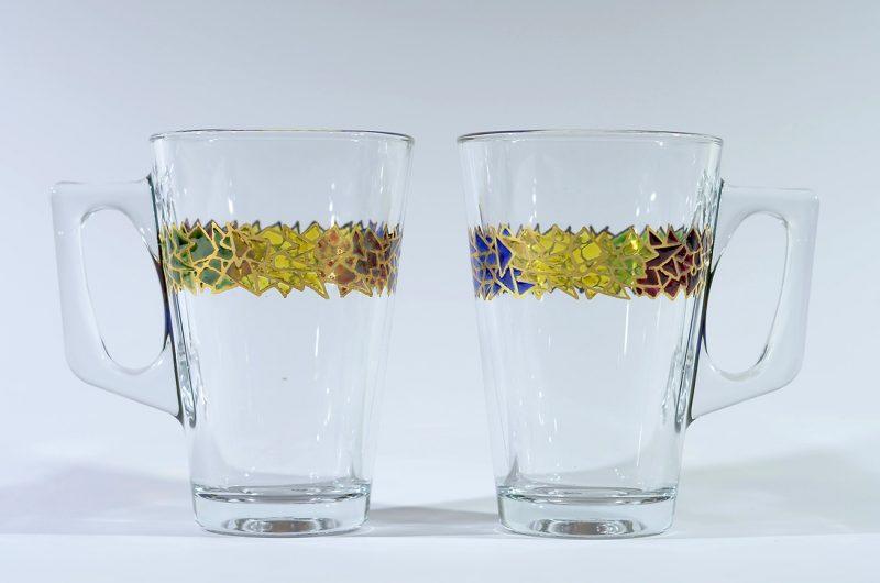 Taza café con leche vidrio